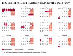 Проект календаря праздничных дней в 2018 годуКак будем отдыхать в 2018 году: о переносе дней отдыха о переносе дней отдыха
