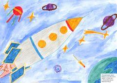 "Рисунок Петра Иванова, 5 ""в"" класс, школа № 2.Он сказал: ""Поехали!"" На Парнасе"