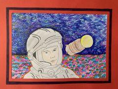 """Рисунок Анны Григорьевой, 5 """"г"""" класс, школа № 19.Он сказал: """"Поехали!"""" На Парнасе"""