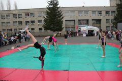 Акробатические номера на мокрых татами сделали представление более зрелищным.Спасибо за мирное небо. Когда тхэквондисты летают, или Спортсмены благодарят ветеранов День Победы
