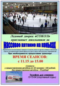 Ледовый стадион «Сокол» приглашает  хоккей массовое катание ледовый каток