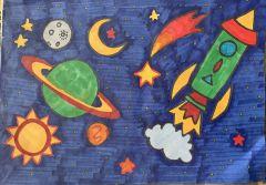 "Рисунок Артема Осипова, 2 ""г"" класс, школа № 19.Он сказал: ""Поехали!"" На Парнасе"