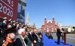 На центральной трибуне вместе с Президентом страны Владимиром Путиным находились ветераны и гости мероприятия. Слава победителям! парад Победы 75 лет Победе