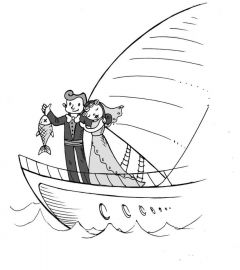 Рисунок Лизы ВЛАДИМИРОВОЙПринц на катере Байка