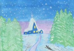 Вот моя деревня.  Рисунок Алексея Петрова, 13 лет.Я хочу, чтоб в Новый год... На Парнасе