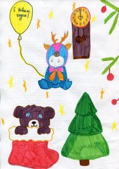 Новогодняя открытка.  Рисунок Светланы Сергеевой, 12 летЯ хочу, чтоб в Новый год... На Парнасе
